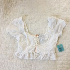 Brand New With Tags Forever 21 White Eyelet Crop